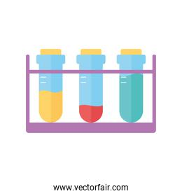 chemistry test tubes on rack science flat style