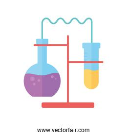 chemistry lab experiment with test tubes science flat style