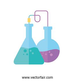 chemical experiment glassware science flat style