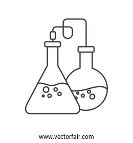 chemical experiment glassware science line style