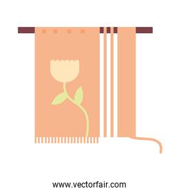 Embroidery of flower icon vector design