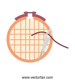 Embroidery grid with needle vector design