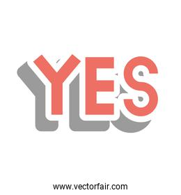 yes word cute sticker vector design
