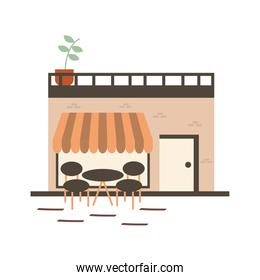 Store with table and chairs vector design