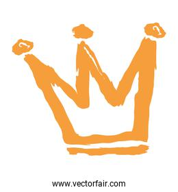 crown royalty yellow color sketch and doodle design