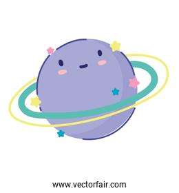 planet solar system space cartoon icon design flat style