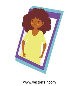 virtual party woman curly hair, celebrating on screen video smartphone cartoon