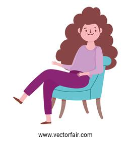 young woman cartoon sitting on chair, white background