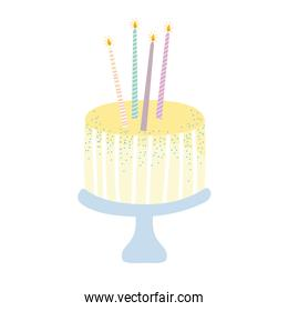 birthday sweet cake with candles celebration party event white background