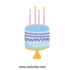 birthday cake with candles celebration party white background