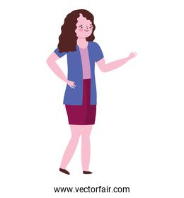 character woman female cartoon standing, white background