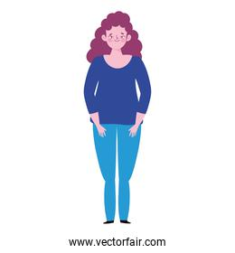 character woman cartoon standing white background