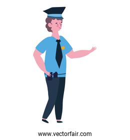 policeman in uniform cartoon character white background