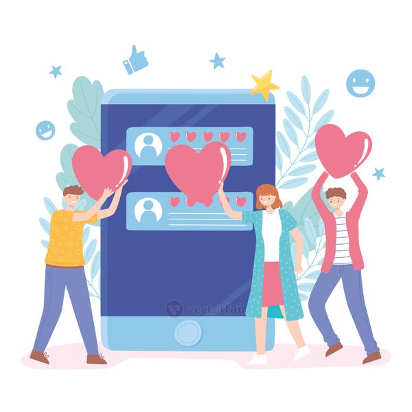 people with hearts like social media rating and feedback
