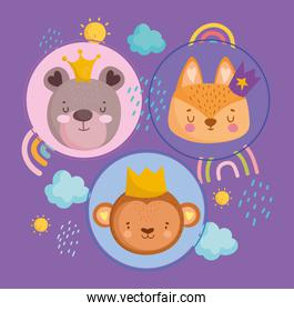 cute animals faces with crowns rainbows clouds and sun cartoon
