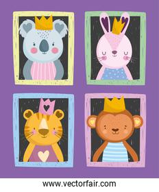cute koala rabbit tiger and monkey with crown portrait drawn style
