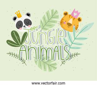 jungle animals text with panda tiger leaves nature