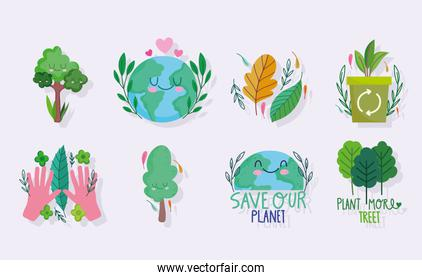 save the world, ecology plant trees and recycle