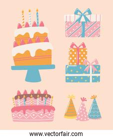 happy birthday cake gifts and hats celebration party cartoon icons set