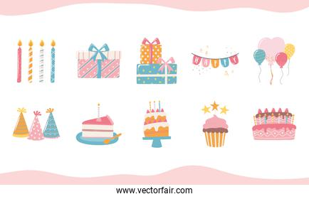happy birthday cake hat candle gift boxes and balloons celebration party cartoon icons set