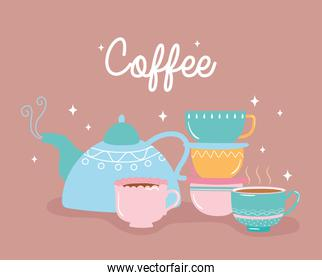 coffee kettle and cups fresh hot beverage
