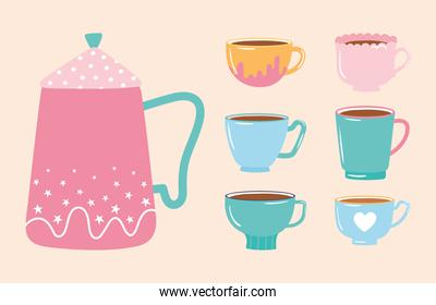 tea and coffee kettle and collection various cups