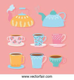 tea and coffee teapots, cups, kettles in different color