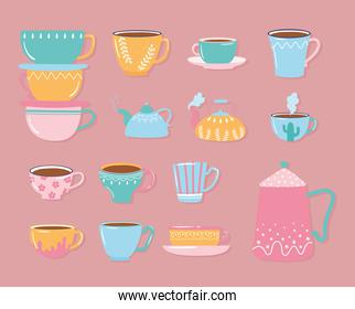 tea and coffee teapot kettles cups decorative for hot beverages