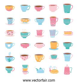 tea and coffee cute trendy crockery with decoration, kettles and cups for beverage