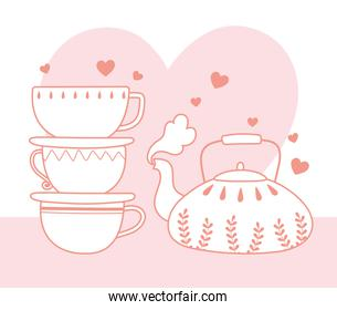 stack of cups and tea pot hot beverage, line style