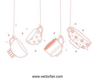 tea and coffee hanging delicate cups decoration, line style