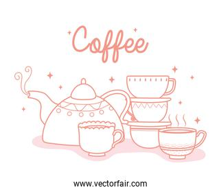 coffee kettle and cups fresh hot beverage, line style