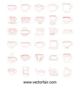 tea and coffee cute trendy crockery with decoration, line style