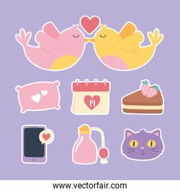 birds heart calendar message cake love and romance in cartoon style