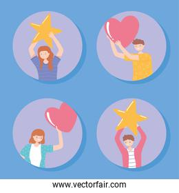 happy people holding star and hearts, rating and feedback concept