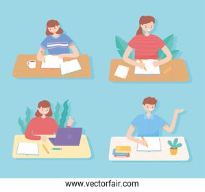 people education, students reading and studying education