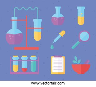 chemistry science education laboratory sample icons, flat style
