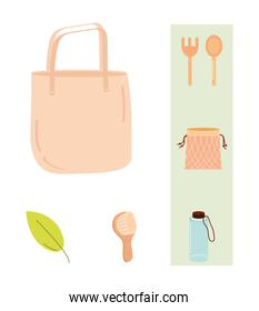 Save the planet zero waste and eco set of icons