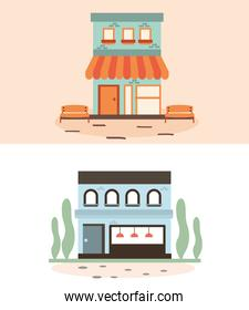 Green and blue stores vector design