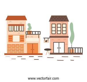 Brown stores isolated vector design