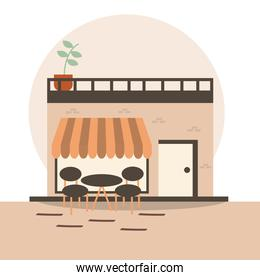 Store with table and chairs at street vector design