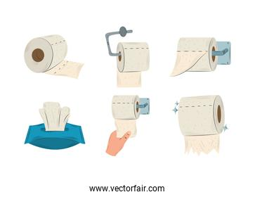 toilet paper rolls hanging, tissue box and hand with paper collection