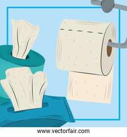 toilet paper, disposables paper in boxes hygiene design