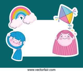 funny girls faces with rainbow and banner template, Children