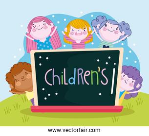 happy boys and girls with chalkboard and lettering Childrens