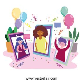 virtual party, people in video call mobile celebrating