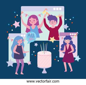 virtual party, people birthday celebration website connection