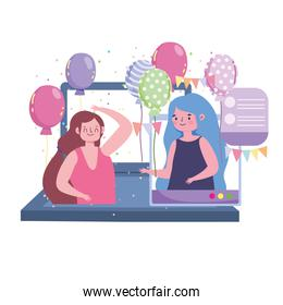 virtual party, young women birthday celebration by laptop