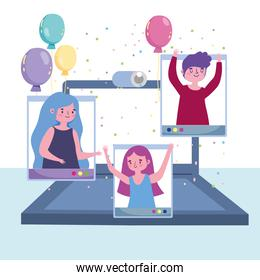 virtual party, people happy celebration festive with laptop