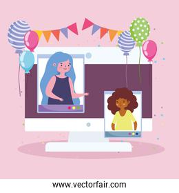 virtual party, online celebration people connected by computer